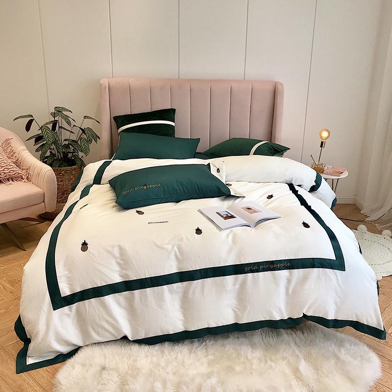 简约纯棉60支埃及长绒棉刺绣花菠萝四件套全棉小清新纯色床上用品