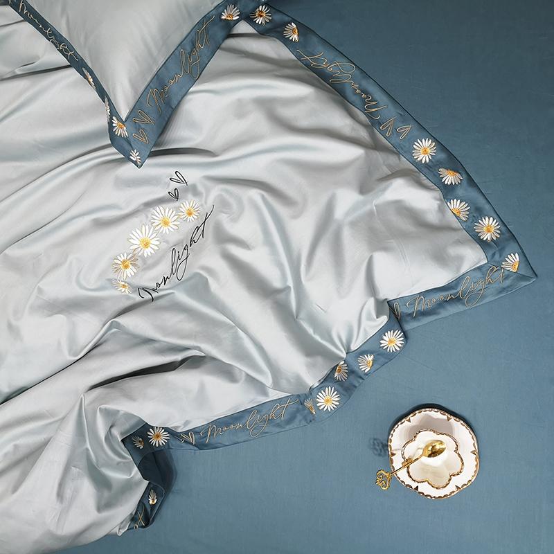 春夏田园风纯棉60支长绒棉四件套雏菊刺绣花被套简约全棉床上用品