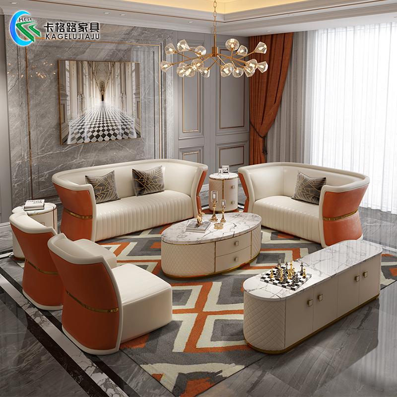 后现代轻奢家具港式别墅客厅意式极简样板房大小户型真皮沙发组合热销27件假一赔三