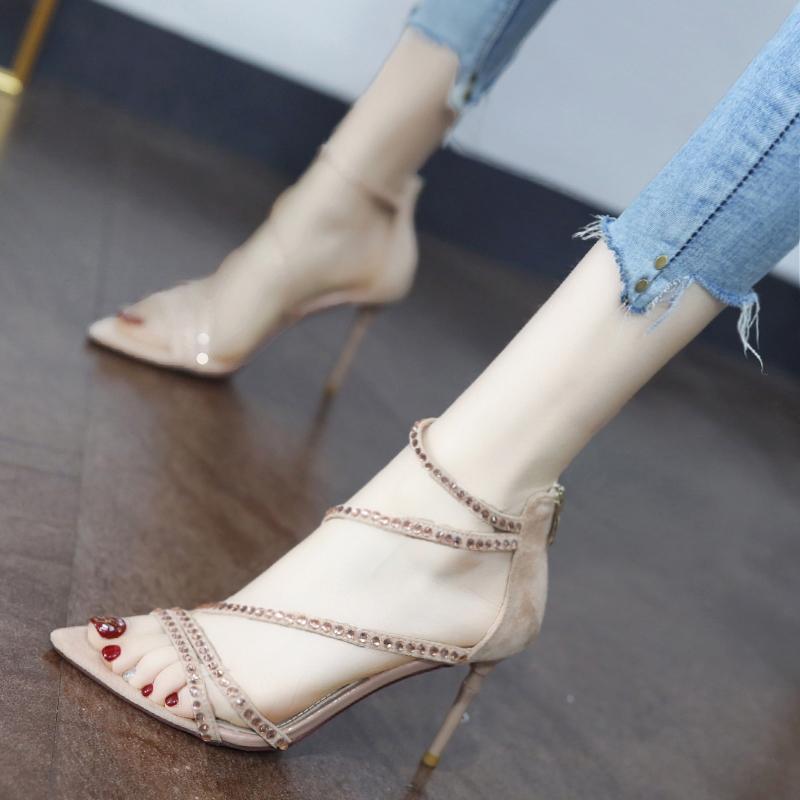 网红凉鞋女仙女风2020夏季新款性感水钻尖头细跟搭配裙子的高跟鞋图片