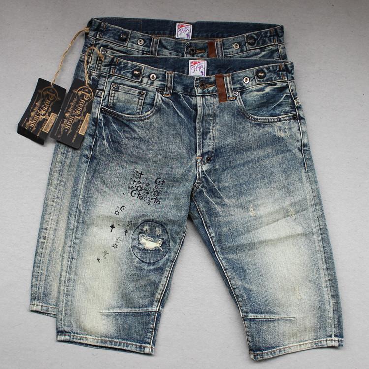 Изделия джинсовые фиолетовый Prps Европы, мужчины шорты старинные мытья водяная мельница сломанной патчи self пять брюки брюки