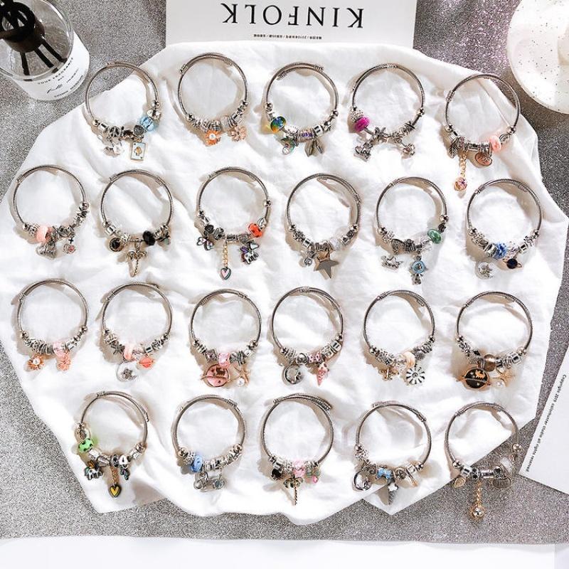 水晶不锈钢手镯合集波西米亚DIY串珠手链多元素可爱吊坠交叉手串