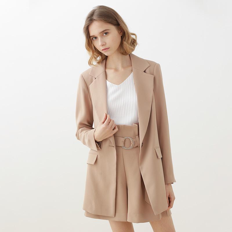 奢美 2018新款小西装短裤套装时尚气质韩版中长款休闲西装外套女