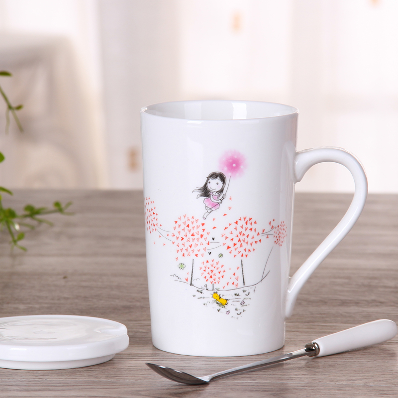 满9.90元可用1元优惠券创意陶瓷男女情侣喝水杯子勺马克杯
