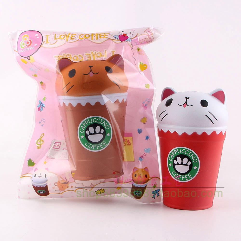 squishy仿真猫头咖啡杯正品版SUNNY柔软慢回弹有香味挤压发泄玩具