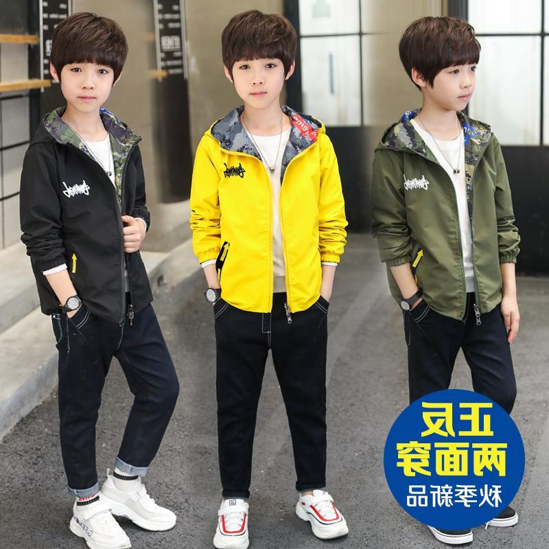 儿童韩版男童6春装外套7新中大童迷彩双面穿上衣9男孩春秋季潮衣,可领取元淘宝优惠券