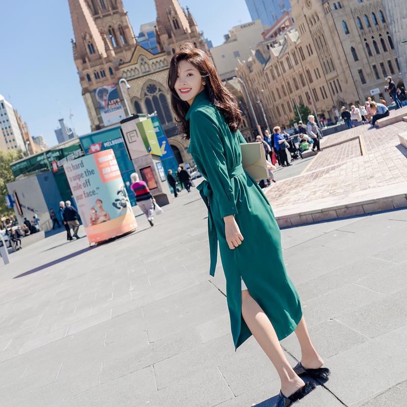 早秋新款女装2018气质长袖衬衫裙子显瘦ins超火的连衣裙雪纺长裙