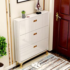 多功能家用门口进门玄关烤漆简约现代不锈钢金色鞋柜 省空间小户