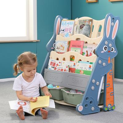 宝宝书架儿童书架绘本架幼儿落地卡通塑料收纳简易幼儿园小书柜儿