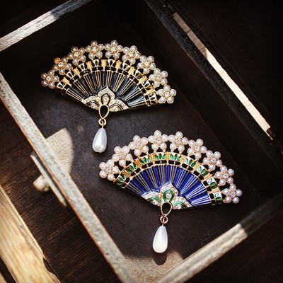 摇曳多姿 复古珍珠珐琅滴油扇子胸针中国风文艺风披肩旗袍领针女