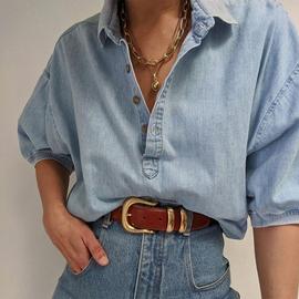 2021年新款美式复古浅蓝色宽松慵懒风牛仔短袖衬衫潮ins女婋贰