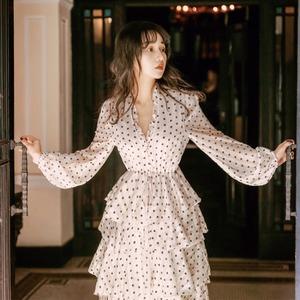 法式复古裙过膝很仙收腰波点雪纺长裙子春秋打底连衣裙仙女蛋糕裙