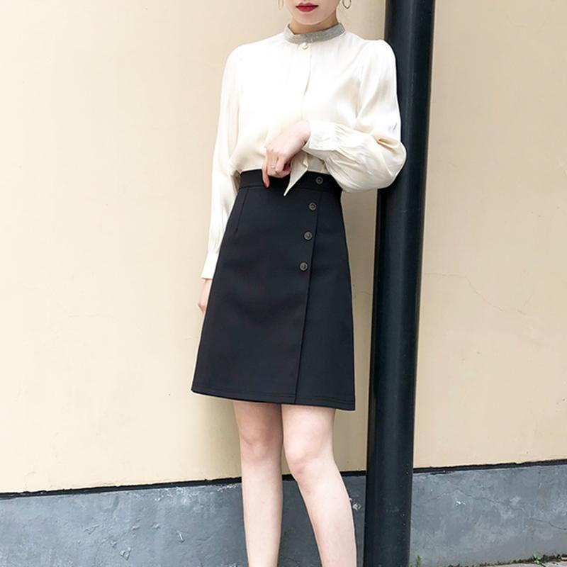 2021春秋新款遮肚子黑色西装女夏高腰显瘦遮胯中裙子a字裙半身裙