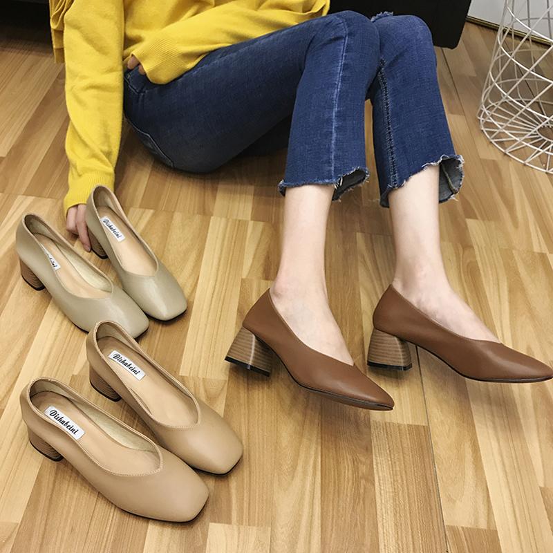 玛丽珍鞋女复古2019秋季新款网红方头奶奶鞋高跟粗跟工作中跟单鞋