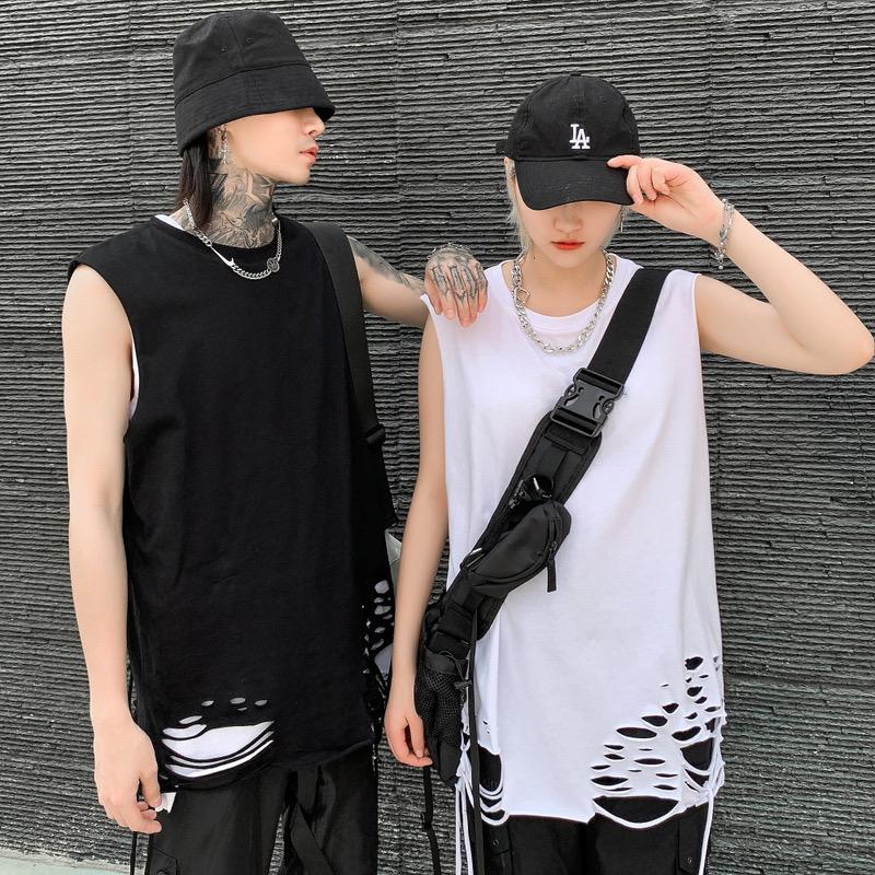 Nardostudio 2021 summer new perforated vest loose print sleeveless T-shirt mens fashion
