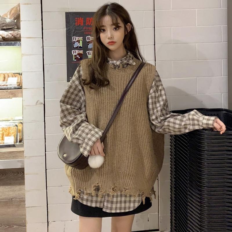 2019初秋新款韩版针织背心格子衬衫不包邮