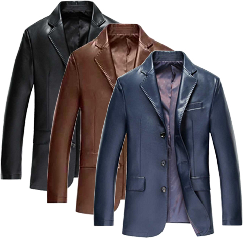 2018 new spring and autumn thin mens business casual suit collar leather jacket PU leather middle-aged jacket plus size coat
