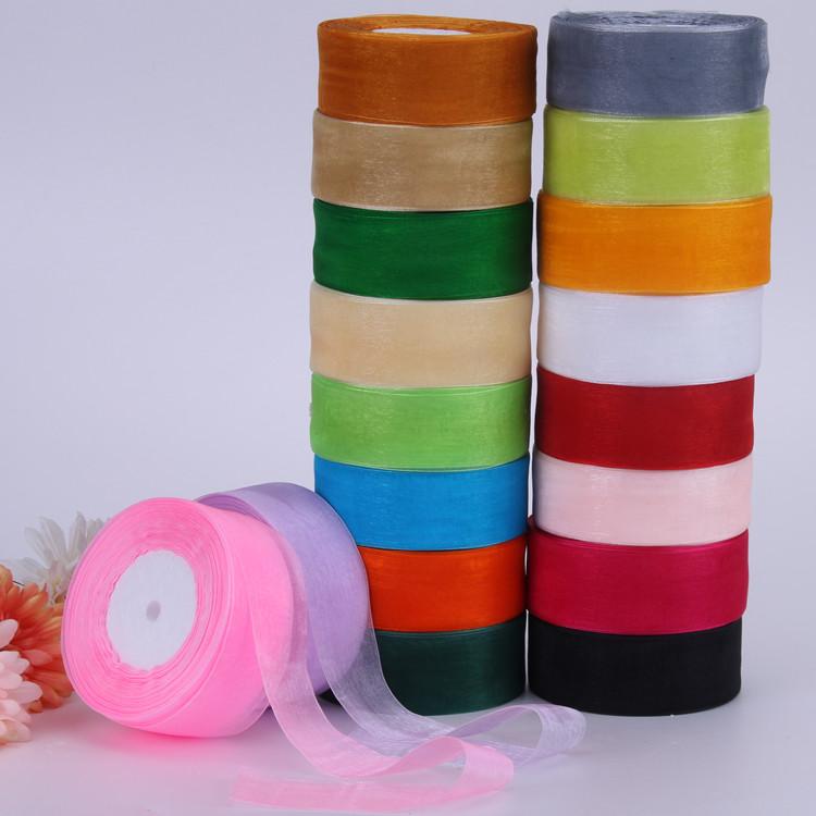 4cm Chiffon mesh ribbon braided hat Organza decorative ribbon gift box packaging ribbon hair decoration ribbon