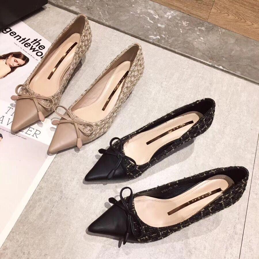2020秋新款韩版蝴蝶结浅口尖头美鞋洋气细跟女鞋百搭高跟鞋女单鞋