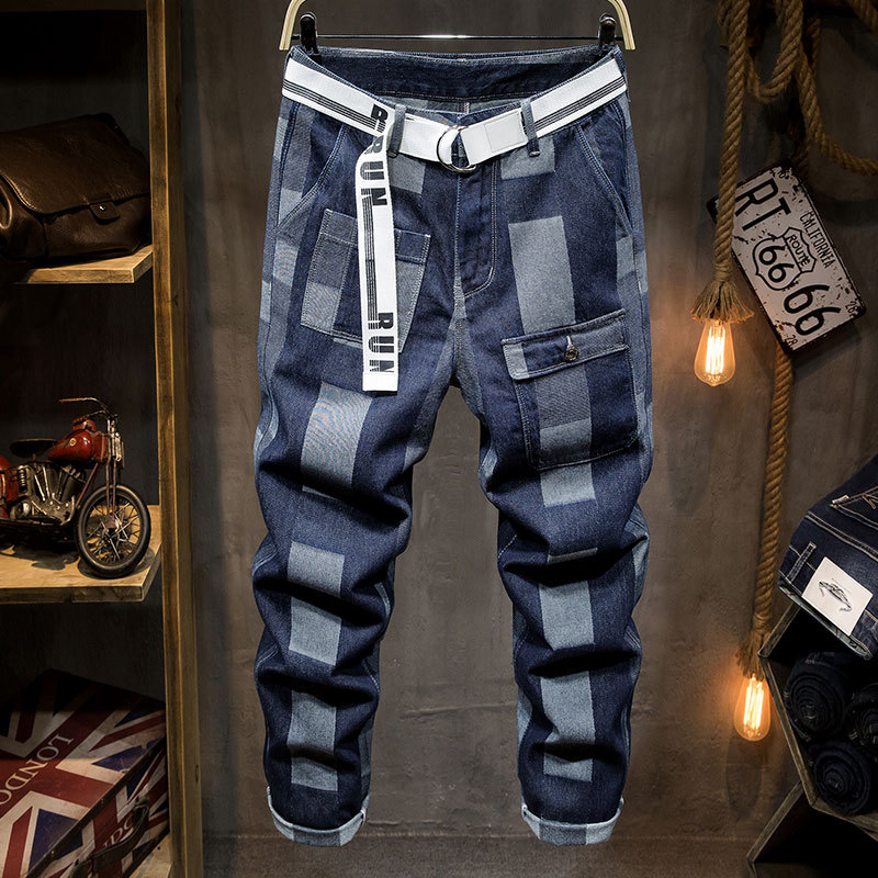 Spring new check jeans mens fashion brand loose straight pants Korean Japanese work clothes personalized dad pants