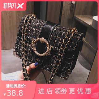 韩版爆款chic包包百搭斜挎包呢子ins小方包链条小女2021新款女包