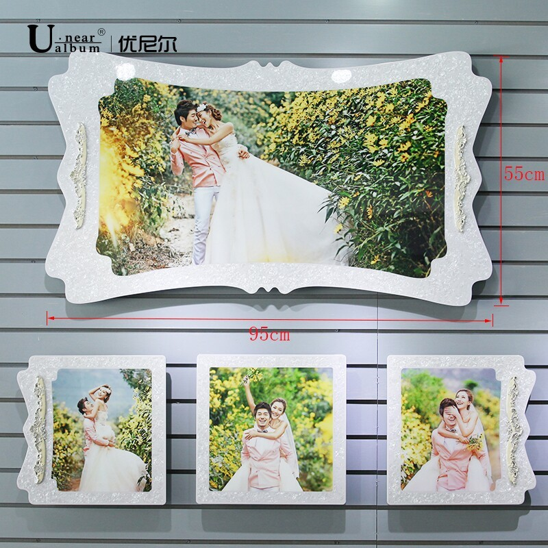 韩式婚纱照水晶相框挂墙制作创意组合照片墙影楼结婚板画48寸挂框