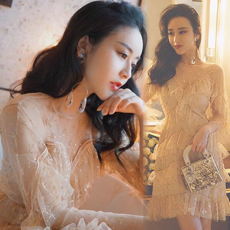 明星同款2018春夏新款女装派对聚会宴会约会性感亮片小礼服连衣裙