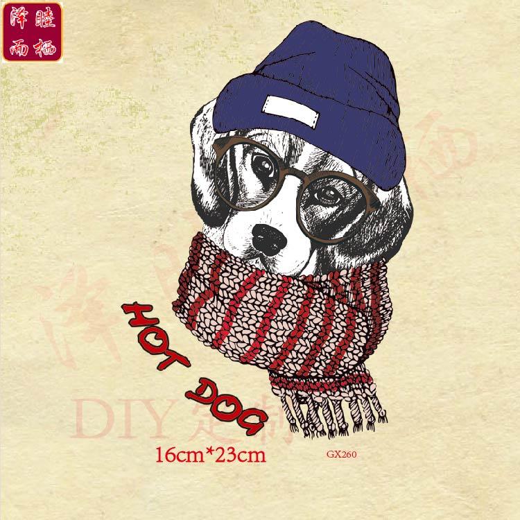 GX260卡通动物围巾眼镜狗印花图案热转印卫衣T恤装饰辅料补丁烫画