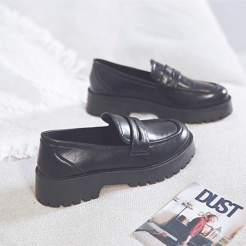 加绒厚底乐福鞋女单鞋小皮鞋JK鞋2020秋季新款英伦复古学生潮软底