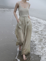 高腰垂感国潮薄款天丝亚麻阔腿裤女 宽松显瘦裤子设计感夏2021d