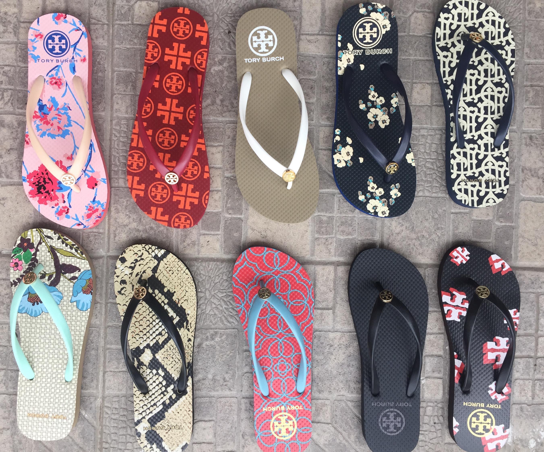 Summer new European and American rubber sole herringbone flat heel printed SANDALS BEACH clip foot seaside leisure vacation