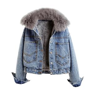 牛仔棉服女短款2019新款冬季韓版兔毛領加絨加厚寬鬆棉衣學生外套
