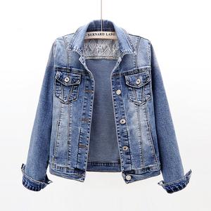 2021年新款韩版百搭修身显瘦弹力牛仔外套女短款春秋长袖上衣夹克
