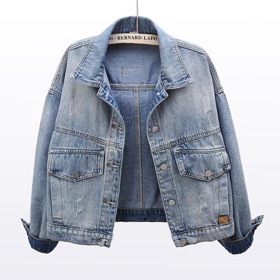 2021春装新款贴布长袖牛仔外套女短款宽松韩版百搭夹克上衣短外套