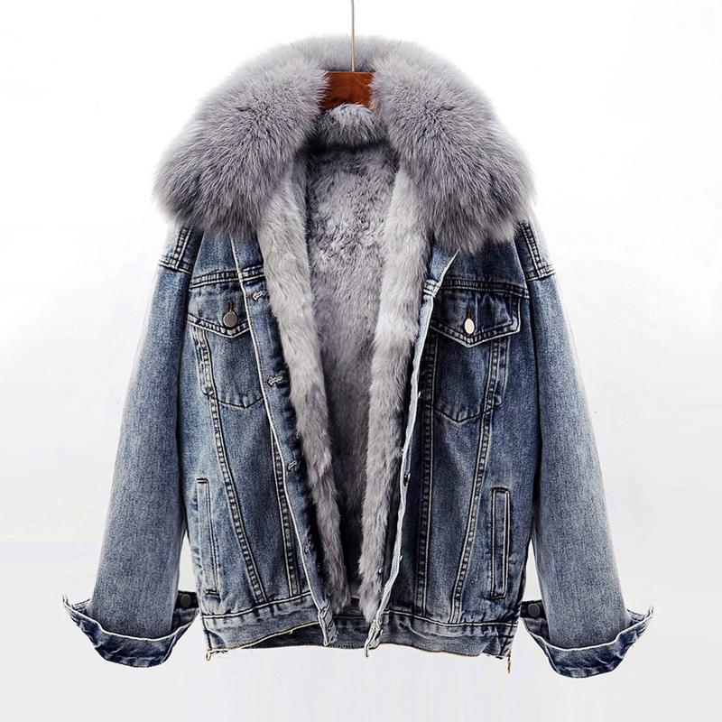 牛仔外套女加绒韩版狐狸毛领可拆卸獭兔毛内胆派克服皮草上衣冬季