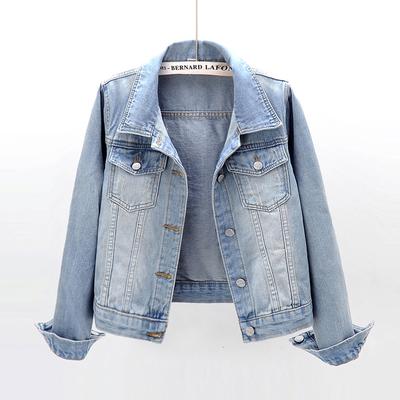 春秋季韩版百搭修身显瘦长袖牛仔外套女短款学生上衣夹克小外套潮