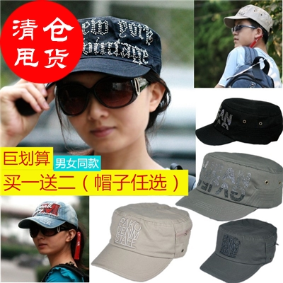 Letter embroidered duck tongue cap hot drill flat top military cap men and women couples hat outdoor leisure sun hat cowboy baseball cap