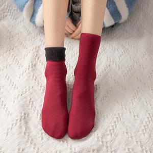 2020秋冬锦纶加绒加厚短袜休闲家居地板袜不起球雪地袜子