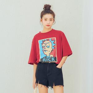 实拍 夏装新款韩范ins超火的短袖t恤女网红同款半截袖上衣