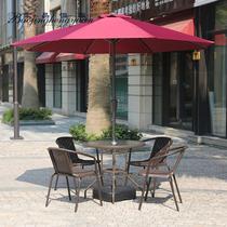 阳台小茶几户外室外桌椅套件藤编椅铁艺阳台休闲欧式庭院伞三五件