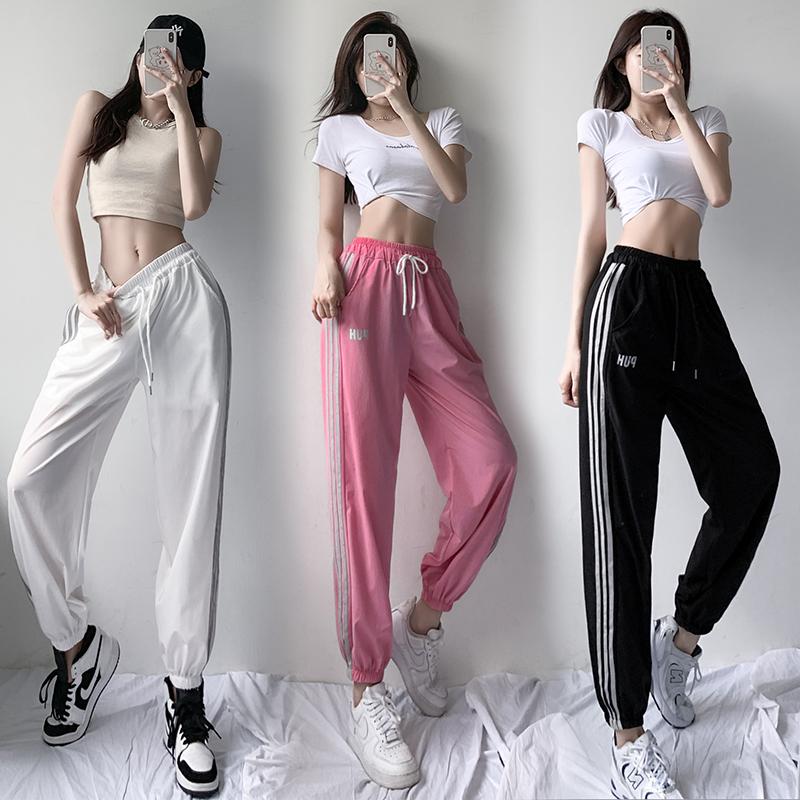實拍冰絲運動褲女2021夏季新款時尚寬松束腳褲薄款高腰顯瘦休閑褲