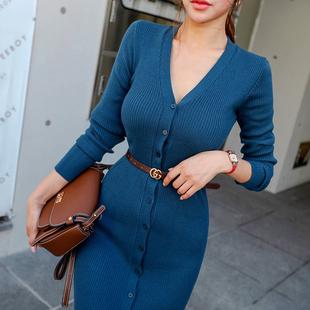 毛衣女2020新款韓版氣質V領女裝開叉修身長袖針織包臀秋冬連衣裙