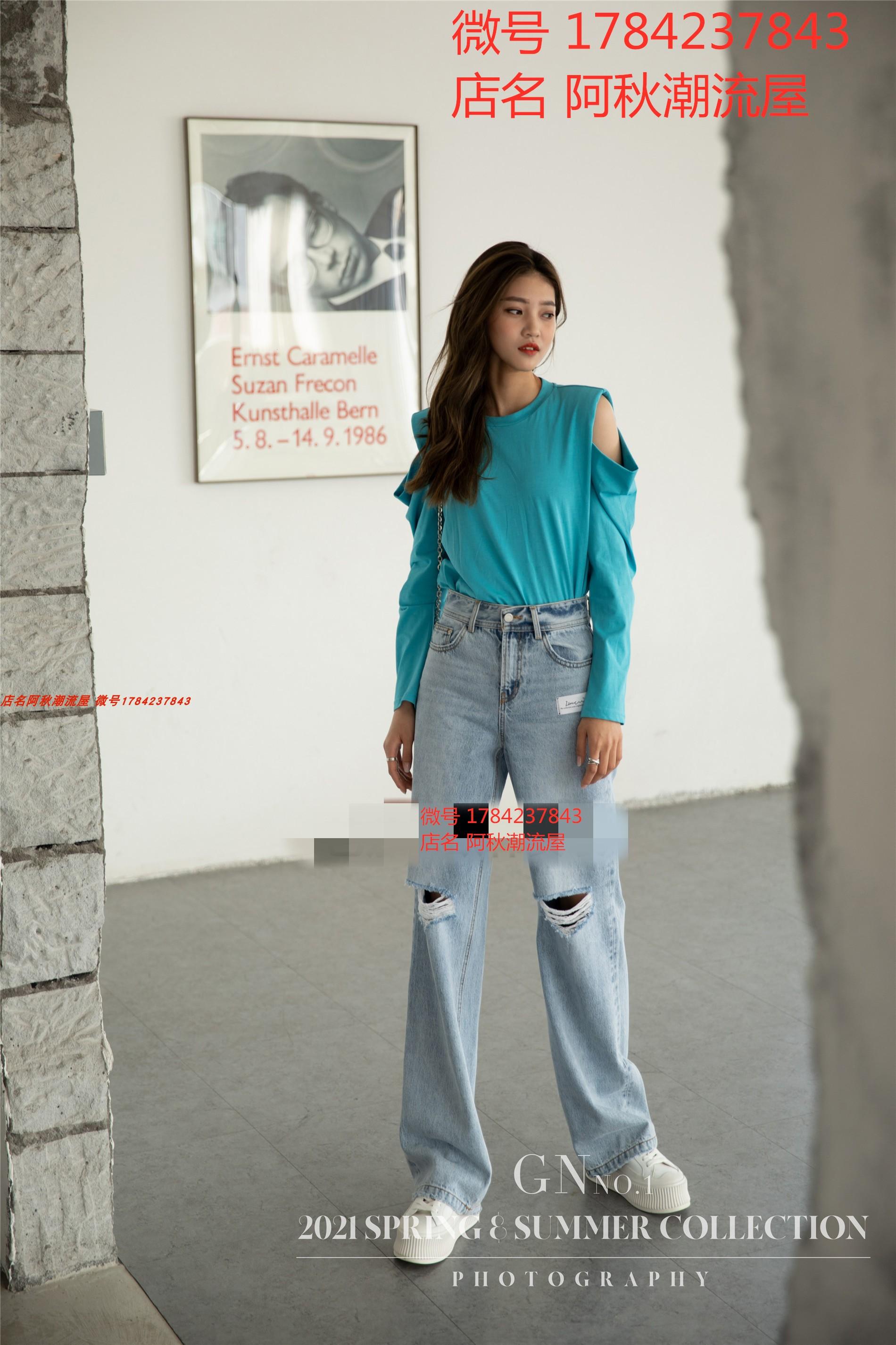 丁螺GN女装 GN 2021春新款欧洲站时尚百搭显瘦宽松直筒破洞牛仔裤