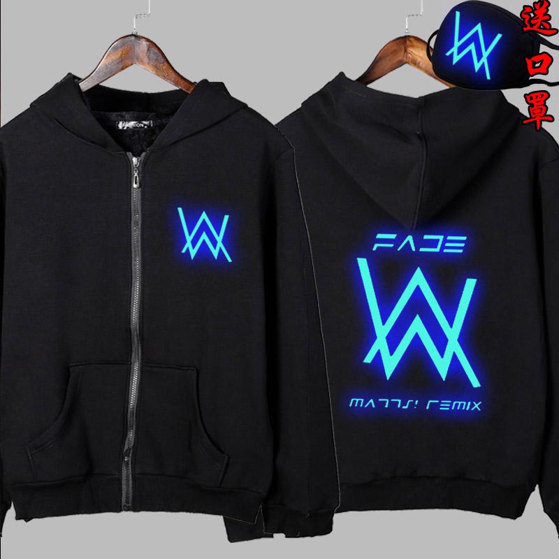 艾伦沃克DJ加绒夜光卫衣男女Alan Walker同款Faded电音发光外套潮