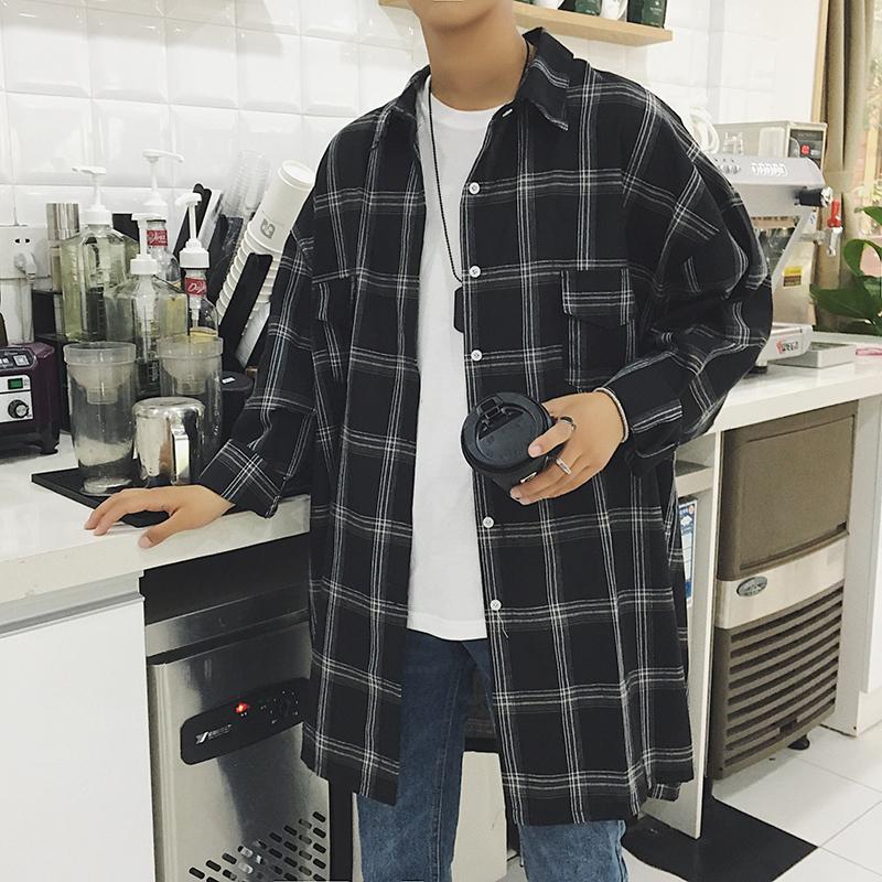2019秋装 复古中长款格子长袖衬衫 衬衣CS02 P55(限价70)
