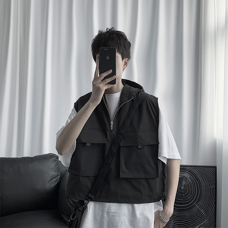 Ins sleeveless jacket, mens Hong Kong Style loose vest, vest, couple fashion brand, work suit, jacket, thin style, all match student fashion