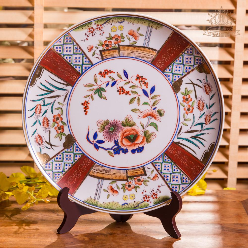 裝飾盤背景墻掛盤家居擺設日本手繪花卉復古五彩鎏金客廳奢華擺件
