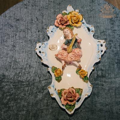 盘子装饰墙挂盘家居摆设欧式小奢华手绘浮雕capodimonte创意摆件