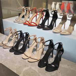 凉鞋女2020新款一字扣带网红高跟鞋