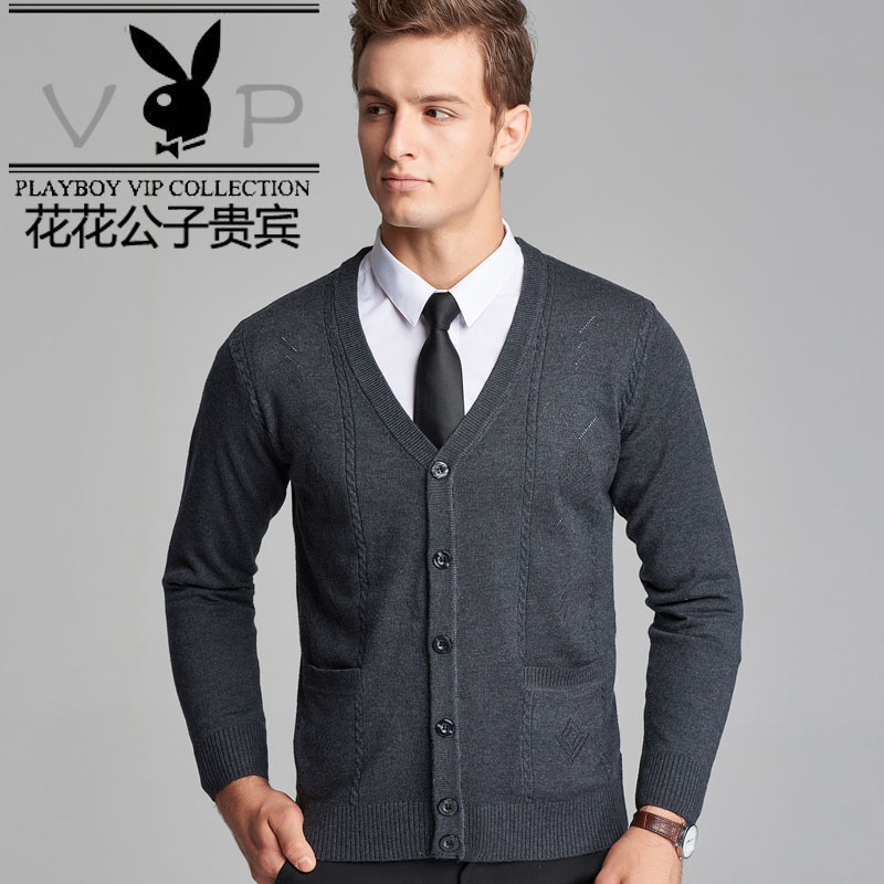Playboy VIP autumn and winter mens knitting cardigan long sleeve young mens solid color upper coat